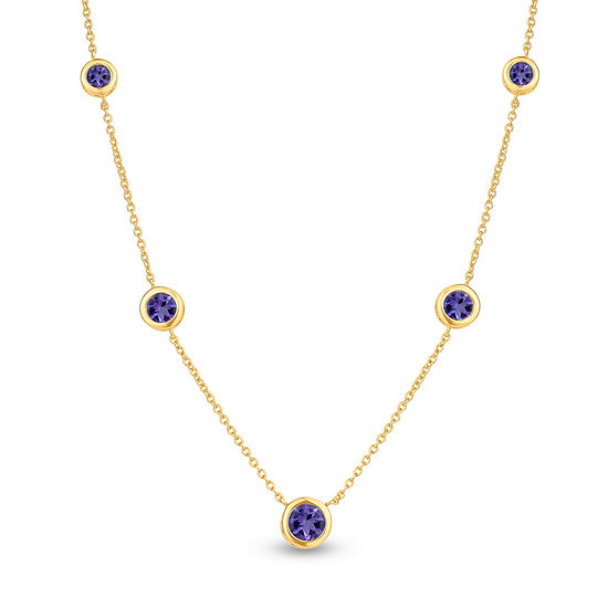 Womens Genuine Purple Amethyst 18K Gold Over Silver Round Strand Necklace