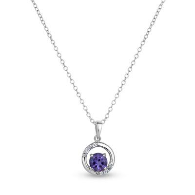 Womens Purple Amethyst Sterling Silver Pendant Necklace