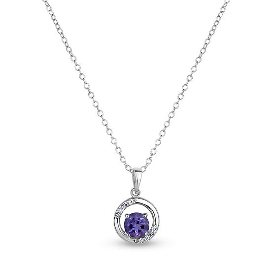 Womens Genuine Purple Amethyst Sterling Silver Round Pendant Necklace