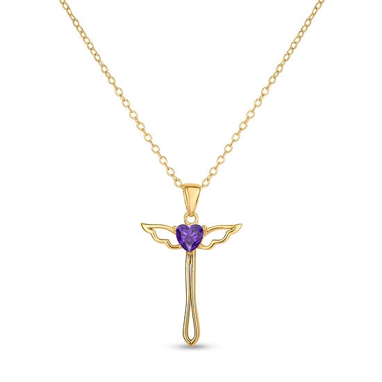 Womens Genuine Purple Amethyst 18K Gold Over Silver Round Pendant Necklace