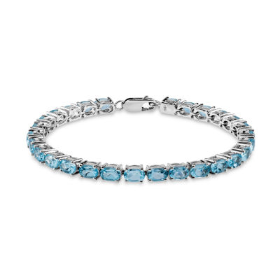 Womens 7 1/2 Inch Blue Blue Topaz Sterling Silver Link Bracelet