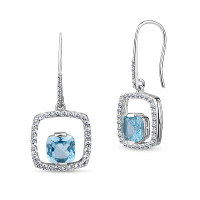 Genuine Blue Topaz Sterling Silver Drop Earrings