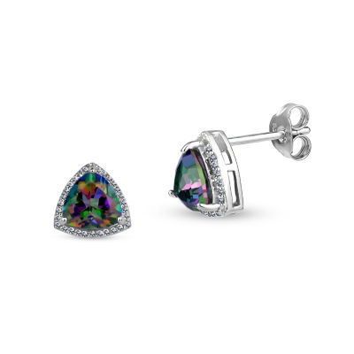 Cushion Simulated Green Mystic Fire Topaz Sterling Silver Stud Earrings