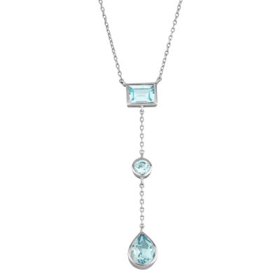 Womens Blue Blue Topaz Y Necklace