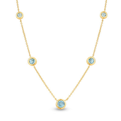 Womens Genuine Blue Blue Topaz Sterling Silver Round Strand Necklace