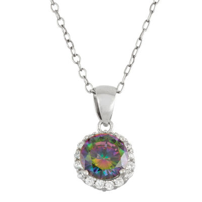Womens Simulated Green Mystic Fire Topaz Sterling Silver Pendant Necklace