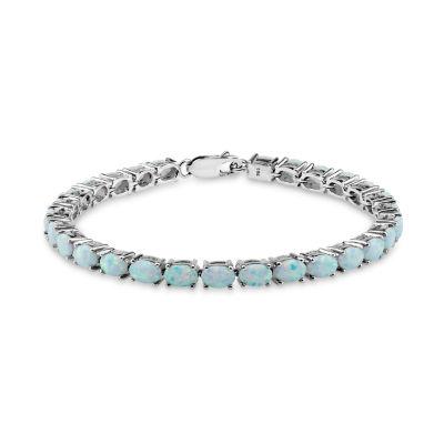 Womens 7 1/2 Inch White Opal Sterling Silver Link Bracelet