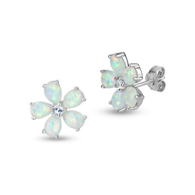 Lab Created White Opal Sterling Silver 9mm Stud Earrings