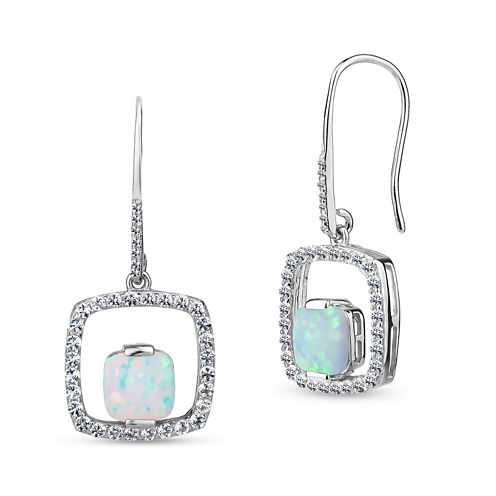 White Opal Sterling Silver Drop Earrings