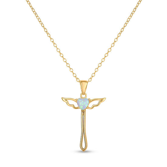 Womens Lab Created White Opal 18K Gold Over Silver Sterling Silver Round Pendant Necklace