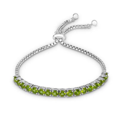 Womens Green Peridot Sterling Silver Bolo Bracelet