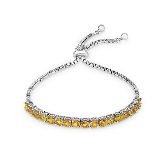 Genuine Yellow Citrine Sterling Silver Bolo Bracelet