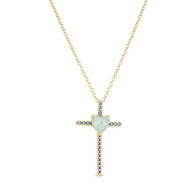 Womens Diamond Accent Lab Created White Opal Sterling Silver Round Pendant Necklace