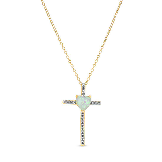 Womens Diamond Accent Lab Created White Opal 18K Gold Over Silver Round Pendant Necklace