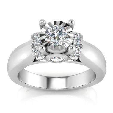 Womens 1 CT. T.W. Genuine Round Diamond 10K Gold Engagement Ring