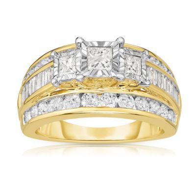 Womens 2 CT. T.W. Genuine Princess White Diamond 10K Gold Engagement Ring