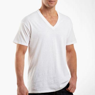 men's hanes v neck white t shirt