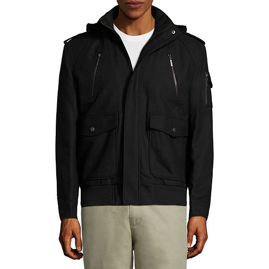 Vintage Leather Hooded Wool Bomber Jacket