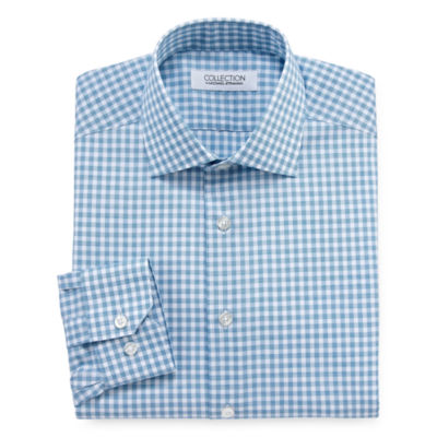 Collection by Michael Strahan  Wrinkle- Free Cotton Stretch Big & Tall Long Sleeve Woven Gingham Dress Shirt