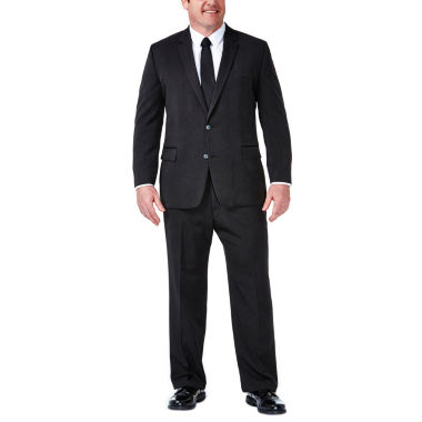 Haggar Charcoal Stripe Classic Fit Stretch Suit Jacket-Big and Tall