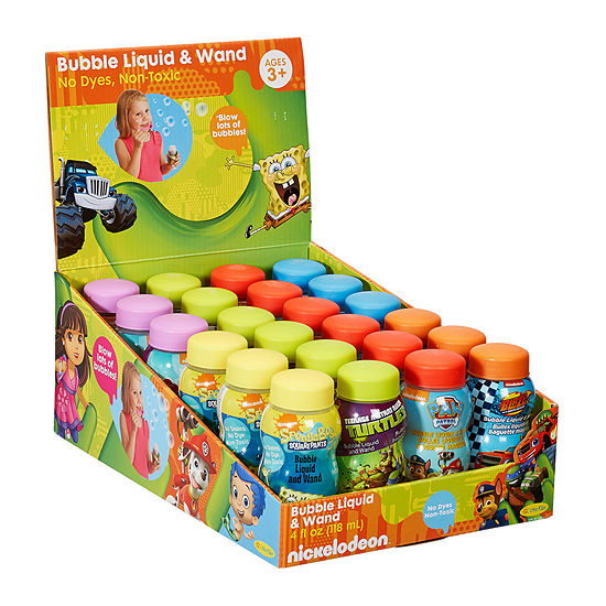 24 Pack Of Nickelodeon 4 Fluid Ounce Bubbles With Wands
