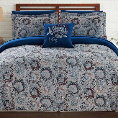 Pacific Coast Textiles 8-pc. Damask + Scroll Reversible Complete Bedding Set with Sheets