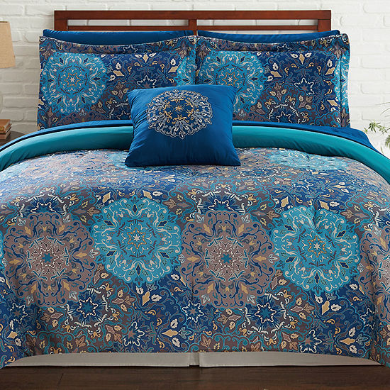 Pacific Coast Textiles 8 Pc Geometric Reversible Complete Bedding Set With Sheets