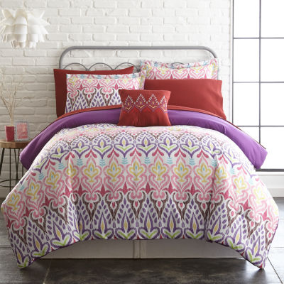 Pacific Coast Textiles 8-pc. Jacquard Reversible Complete Bedding Set with Sheets