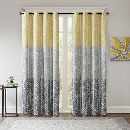 Intelligent Design Kennedy Geometric Blackout Grommet-Top Single Curtain Panel