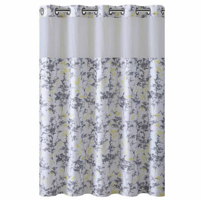 Hookless Floral Leaves Shower Curtain