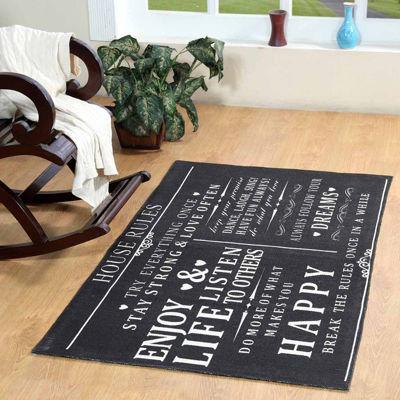 Printed Typography Rectangular Rugs