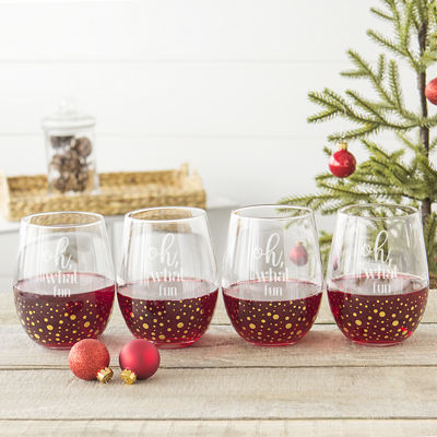 Cathy's Concepts Oh What Fun 4-pc. Stemless Wine Glass