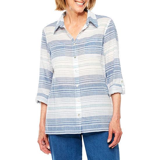 Alfred Dunner Indigo Girls 3/4 Sleeve Button-Front Shirt