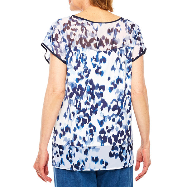 Alfred Dunner Indigo Girls Short Sleeve Animal Print T-Shirt-Petites