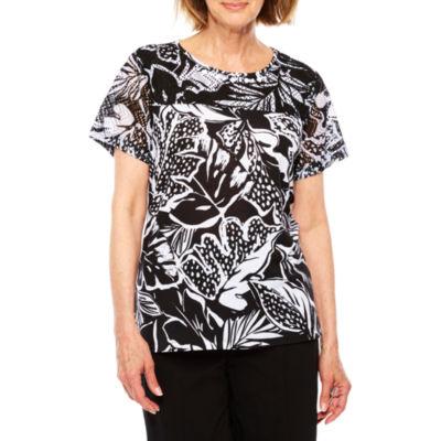 Alfred Dunner 3/4 Sleeve V Neck T-Shirt-Womens