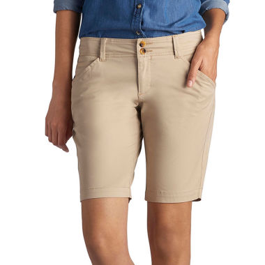 "Lee 8 1/2"" Straight Fit Twill Bermuda Shorts-Petites"