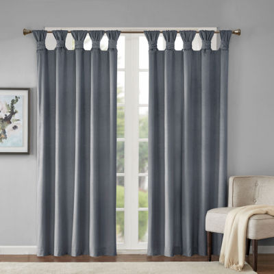 Madison Park London Texture Printed Poly Velvet Twisted Top Room Darkening Tab-Top Curtain Panel