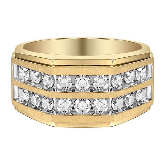 Mens 1 1/2 CT. T.W. Genuine White Diamond 10K Gold Fashion Ring