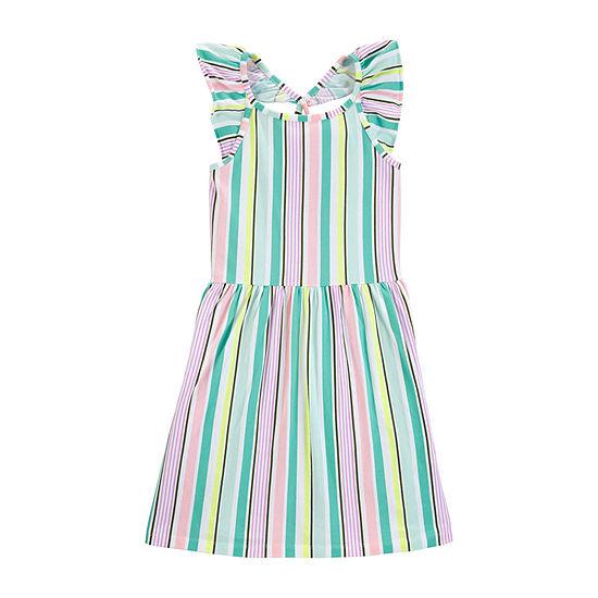 Carters Girls Sleeveless Flutter Sleeve Striped A Line Dress Preschool Big Kid