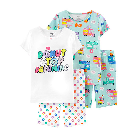 Carters 4 Pc Pajama Set Preschool Big Kid Girls