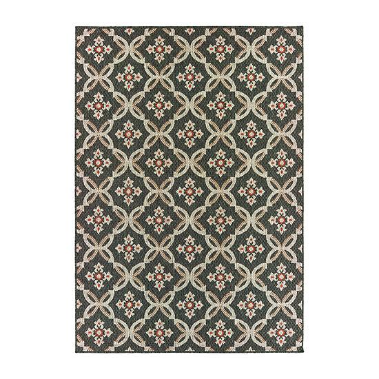 Covington Home Latrell Geo Floral Rectangular Indoor/Outdoor Rugs