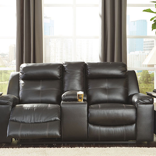 Signature Design By Ashley Kempten Pad Arm Reclining Loveseat
