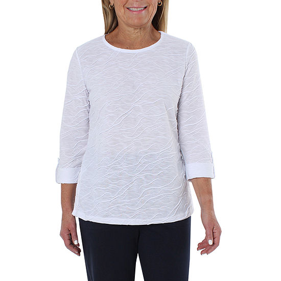 Cathy Daniels Sheeting Womens Round Neck 3 4 Sleeve Tunic Top