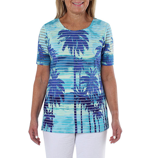 Cathy Daniels Sheeting Womens Round Neck Short Sleeve T Shirt