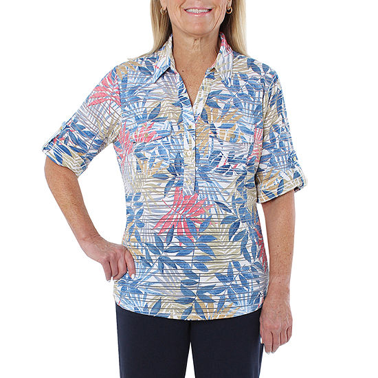 12822d64d9003a Cathy Daniels Sheeting Womens 3/4 Sleeve Polo Shirt - JCPenney