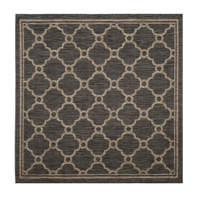 Safavieh Courtyard Collection Ian Geometric Indoor/Outdoor Square Area Rug