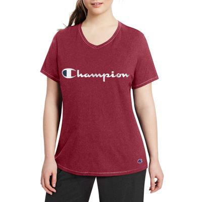 Champion-Womens V Neck Short Sleeve T-Shirt Plus