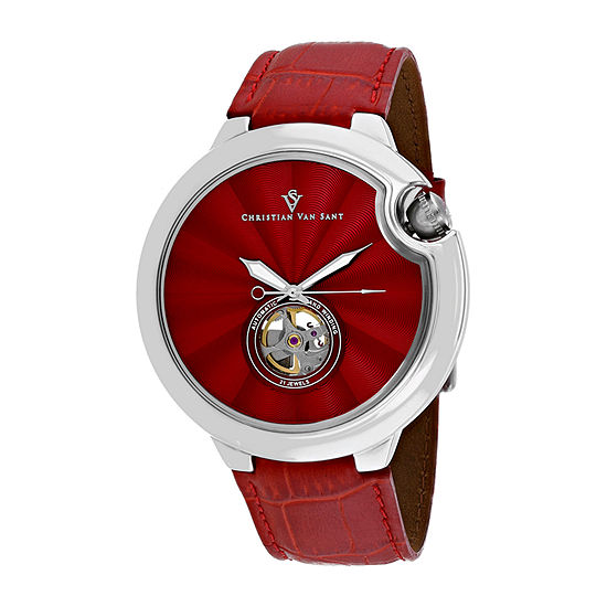 Christian Van Sant Mens Red Leather Strap Watch-Cv0142