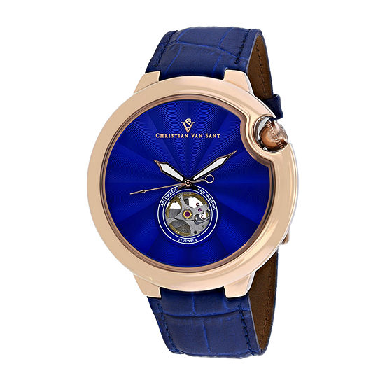 Christian Van Sant Mens Blue Leather Strap Watch-Cv0143