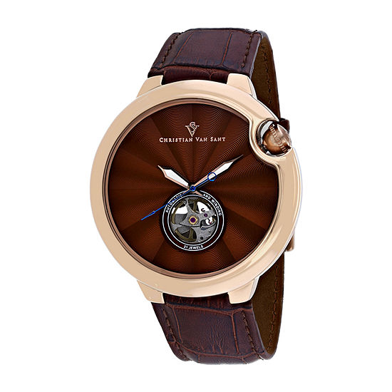 Christian Van Sant Mens Brown Strap Watch-Cv0144